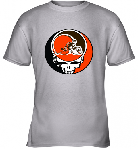 mo2t nfl team cleveland browns x grateful dead logo band youth t shirt 26 front sport grey