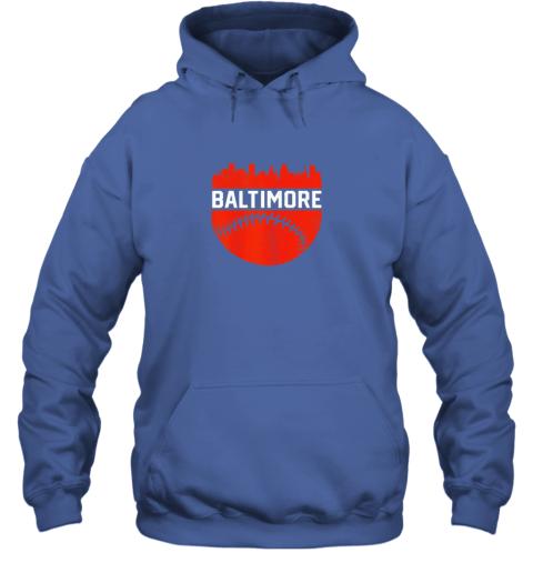 j82h vintage downtown baltimore maryland skyline baseball hoodie 23 front royal