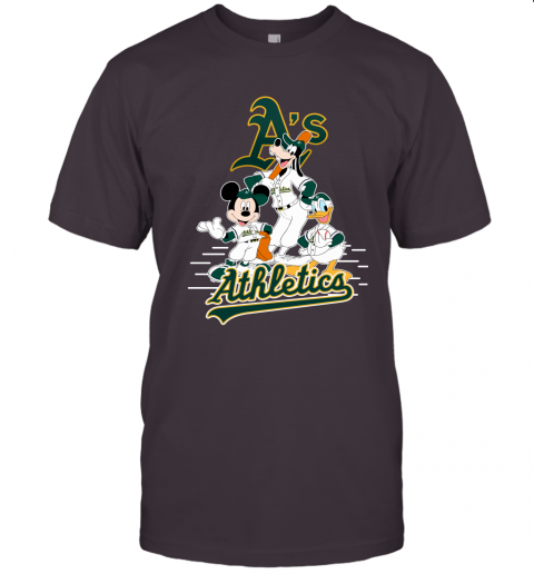 1eru oakland athletics mickey donald and goofy baseball jersey t shirt 60 front dark grey