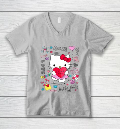 Hello Kitty Love Notes Valentine Tee V-Neck T-Shirt 3