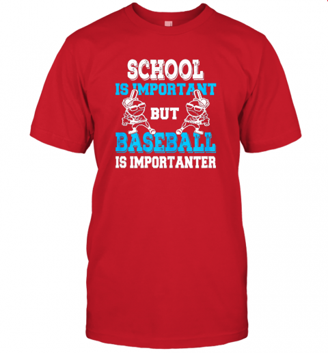 9ksg school is important but baseball is importanter boys jersey t shirt 60 front red