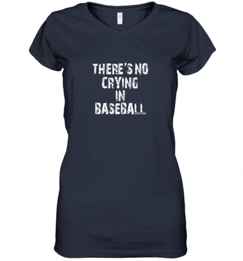 myjp there39 s no crying in baseball women v neck t shirt 39 front navy