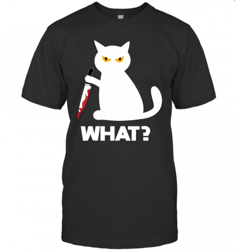 Killer Cat Bloody Knife Costume Funny Animal Halloween Gifts T-Shirt