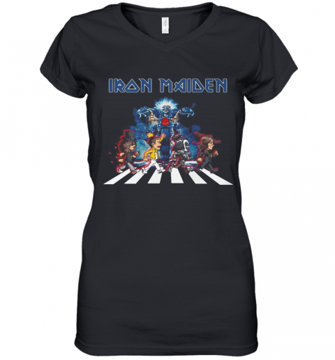 Iron Maiden Band Members Abbey Road Women's V-Neck T-Shirt