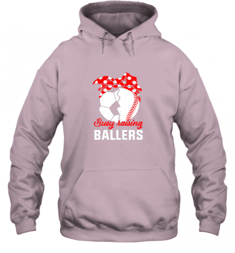 xqf7 busy raising a ballerfunny baseball soccer mom hoodie 23 front light pink