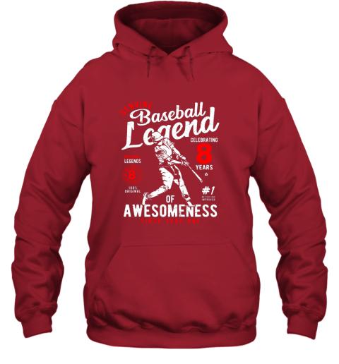 xu1r kids 8th birthday gift baseball legend 8 years hoodie 23 front red