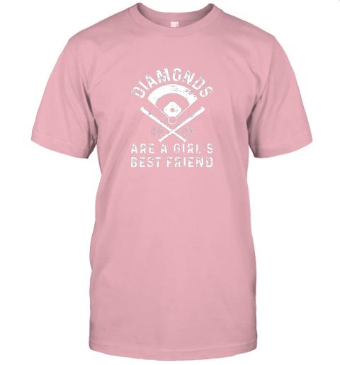 3tsp diamonds are a girl39 s best friend baseball jersey t shirt 60 front pink