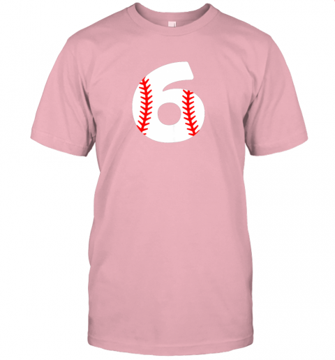 xrvz sixth birthday 6th baseball shirtnumber 6 born in 2013 jersey t shirt 60 front pink