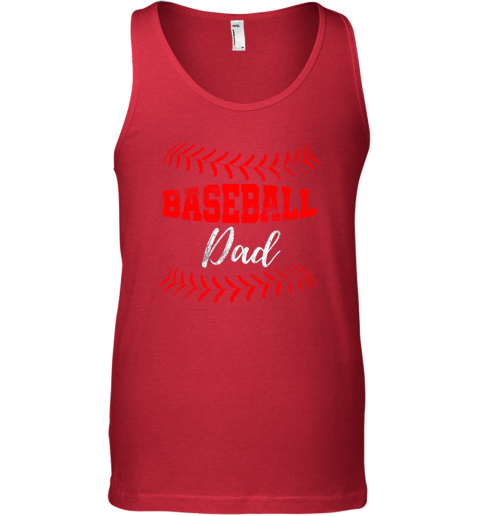 wzjs mens baseball inspired dad fathers day unisex tank 17 front red