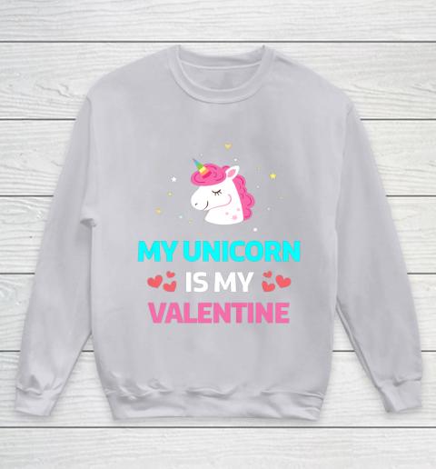 Funny Valentines Day Shirt Unicorn Is My Valentine Youth Sweatshirt 3