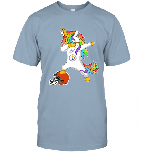 631s football dabbing unicorn steps on helmet pittsburgh steelers jersey t shirt 60 front light blue