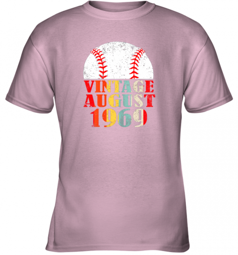 mybx born august 1969 baseball shirt 50th birthday gifts youth t shirt 26 front light pink