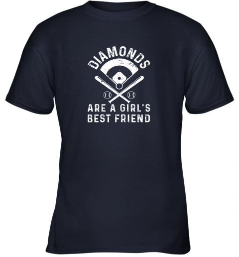 z1bo diamonds are a girl39 s best friend baseball youth t shirt 26 front navy