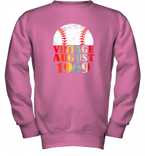 xugo born august 1969 baseball shirt 50th birthday gifts youth sweatshirt 47 front safety pink