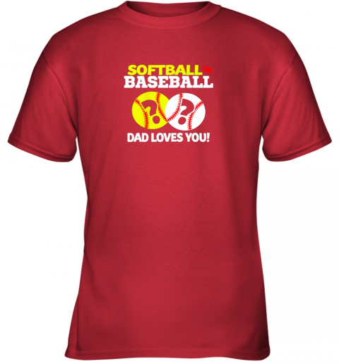 tswq softball or baseball dad loves you gender reveal youth t shirt 26 front red
