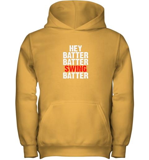 9k4w hey batter batter swing batter funny baseball youth hoodie 43 front gold
