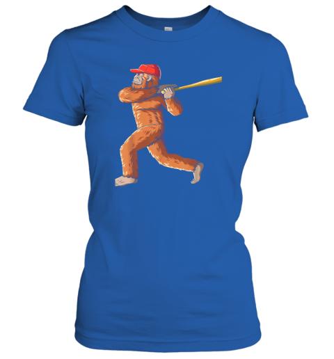 l055 bigfoot baseball sasquatch playing baseball player ladies t shirt 20 front royal