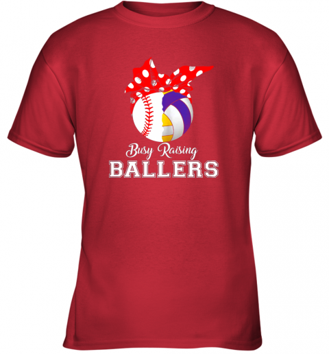 fqml baseball volleyball busy raising ballers shirt mothers day youth t shirt 26 front red