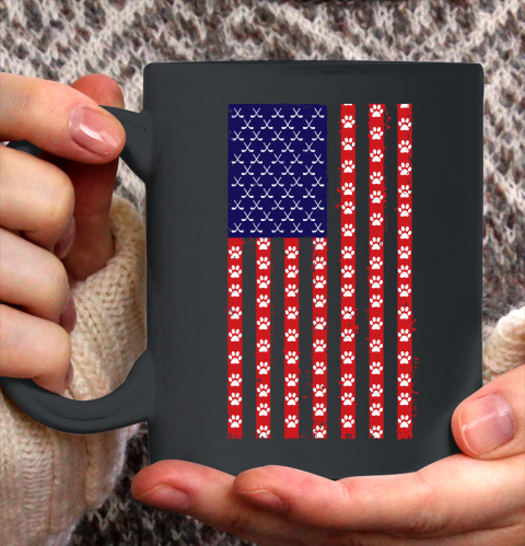 Hockey Dog Lover American Flag Ceramic Mug 11oz 1