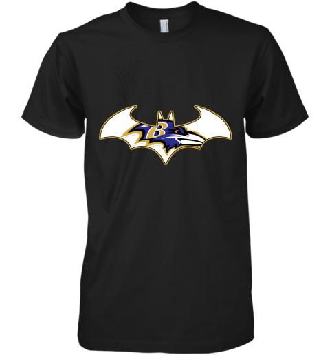 pdry we are the baltimore ravens batman nfl mashup premium guys tee 5 front black