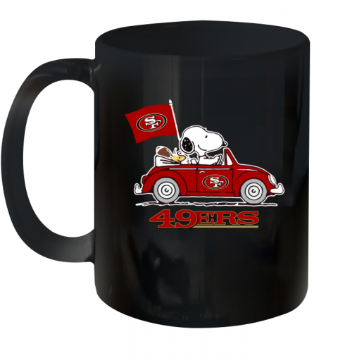Snoopy And Woodstock Ride The San Francisco 49ers Car Ceramic Mug 11oz