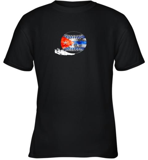Vintage Baseball Cuba Flag Shirt Cuban Pride Youth T-Shirt
