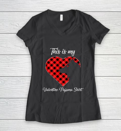 This Is My Valentine Pajama Shirt Wolf Valentines Day Women's V-Neck T-Shirt 6