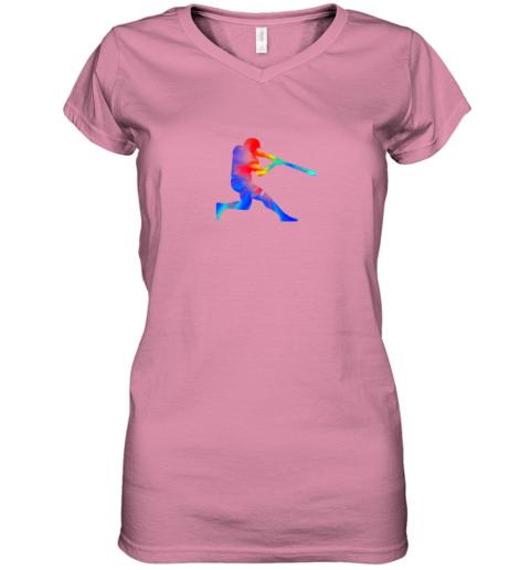 kroj tie dye baseball batter shirt retro player coach boys gifts women v neck t shirt 39 front azalea