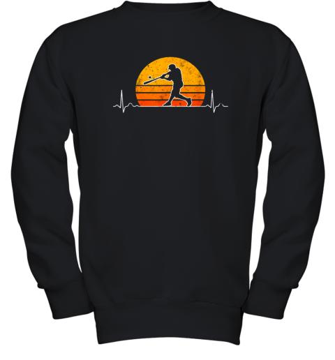 Vintage Baseball Heartbeat Retro Sunset Swinging Batter Gift Youth Sweatshirt