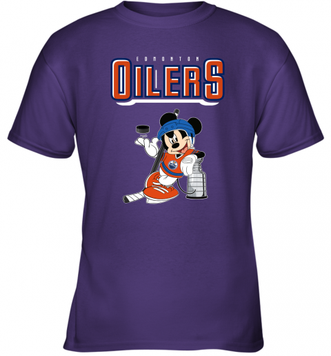 khn2 mickey edmonton oilers with the stanley cup hockey nhl shirt youth t shirt 26 front purple