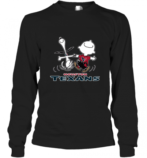 Snoopy And Charlie Brown Happy Houston Texans NFL Long Sleeve T-Shirt