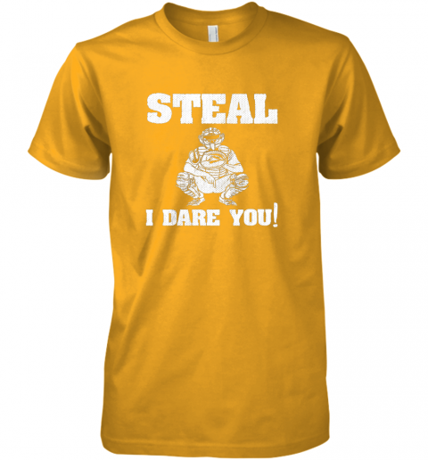 2ncy kids baseball catcher gift funny youth shirt steal i dare you33 premium guys tee 5 front gold