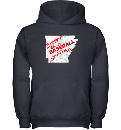 ujo8 this is baseball arkansas with red laces youth hoodie 43 front navy