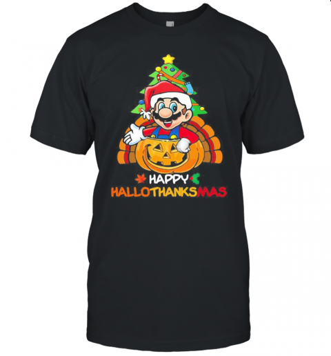 Mario Happy Hallothanksmas Halloween Thanksgiving Christmas Unisex Jersey Tee