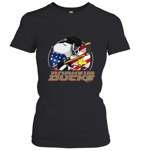 Anaheim Ducks  Snoopy And Woodstock NHL Women's T-Shirt