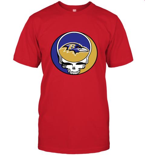 wlr2 nfl team baltimore ravens x grateful dead jersey t shirt 60 front red