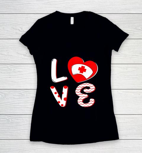 Medical Nurse Valentine Day Shirt Love Matching Women's V-Neck T-Shirt