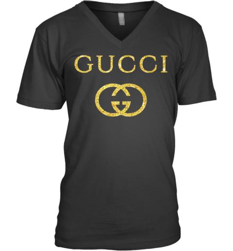 Gucci Logo Vintage Inspired Glitter Mens V-Neck T-Shirt