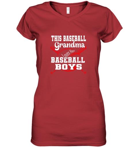 jpjj this baseball grandma loves her baseball boys women v neck t shirt 39 front red