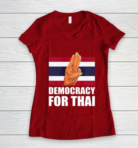Democracy for Thailand Free Thai Protest Bangkok Support Women's V-Neck T-Shirt 8