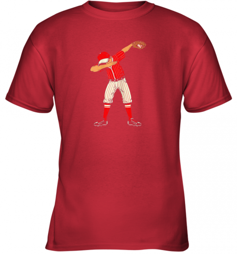 dowk dabbing baseball catcher gift shirt kids men boys bzr youth t shirt 26 front red