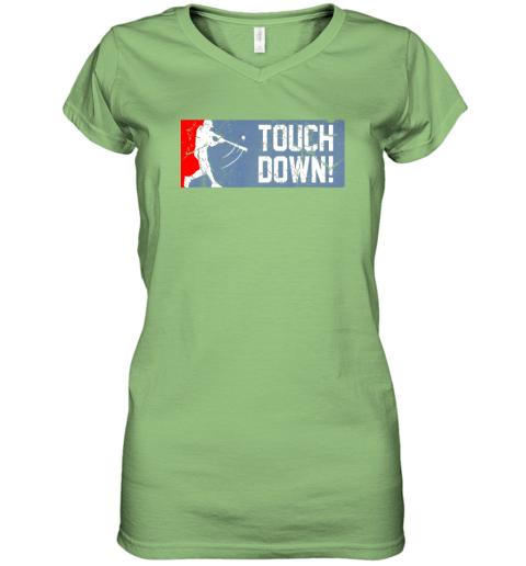 nuyd touchdown baseball funny family gift base ball women v neck t shirt 39 front lime
