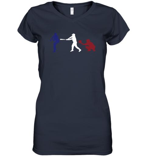 ruhf baseball usa flag american tradition spirit women v neck t shirt 39 front navy