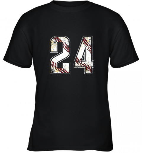 #24 Baseball Jersey Number 24 Vintage Retro Birthday Gift Youth T-Shirt