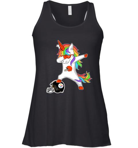l3no football dabbing unicorn steps on helmet cleveland browns flowy tank 32 front black