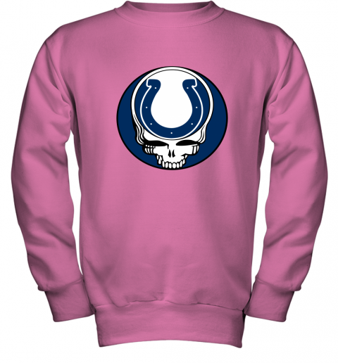 7zp8 nfl team indianapolis colts x grateful dead logo band youth sweatshirt 47 front safety pink