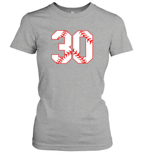 oowm thirtieth birthday party 30th baseball shirt born 1989 ladies t shirt 20 front ash