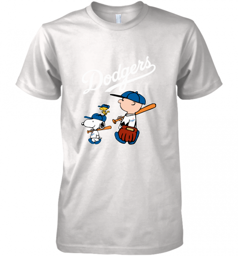 uixv los angeles dodgers lets play baseball together snoopy mlb shirt premium guys tee 5 front white