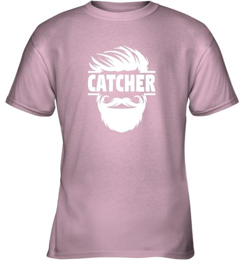 jc4s bearded baseball catcher youth t shirt 26 front light pink