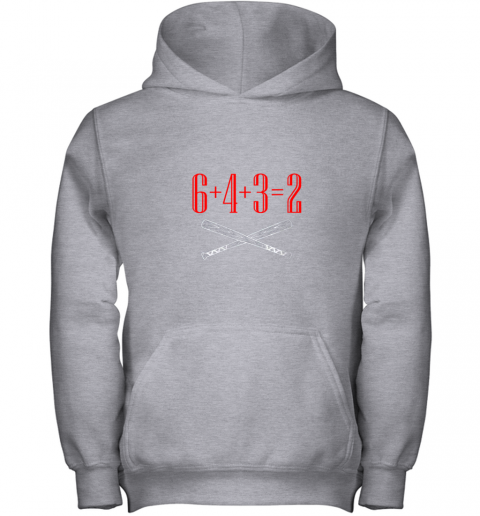h5xm funny baseball math 6 plus 4 plus 3 equals 2 double play youth hoodie 43 front sport grey